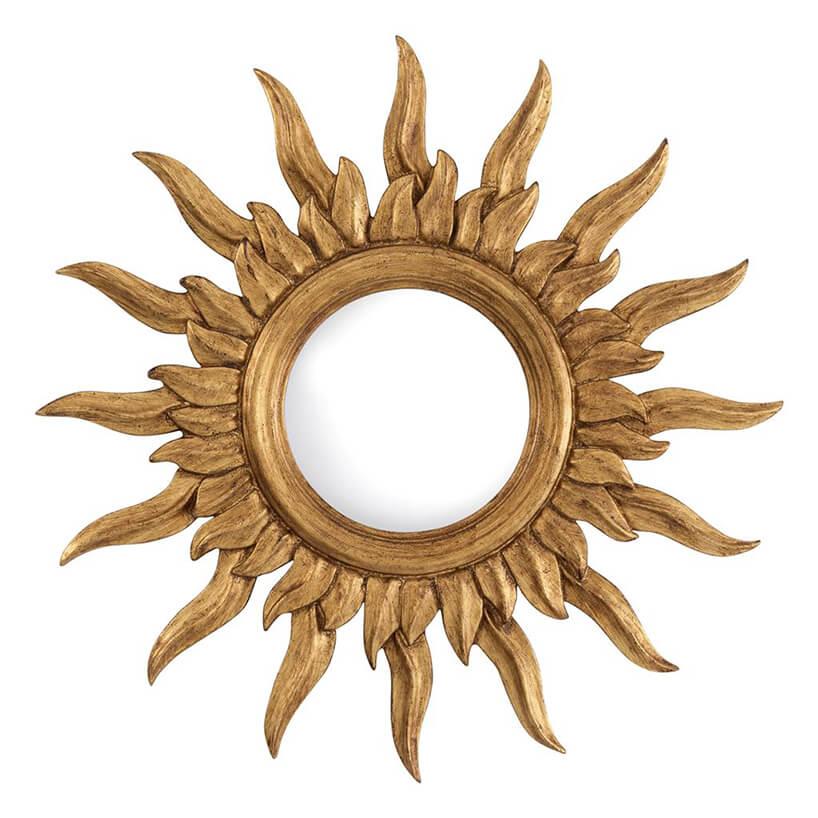 Lustro ścienne Sultan, Eichholtz zfalistymi złotymi promieniami