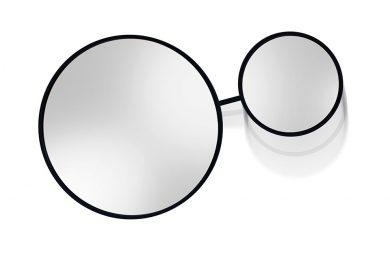 dwa połączone lustra okrągłe o różnej wielkości w czarnej ramce