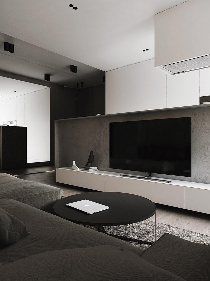 czarny telewizor stolik wsalonie