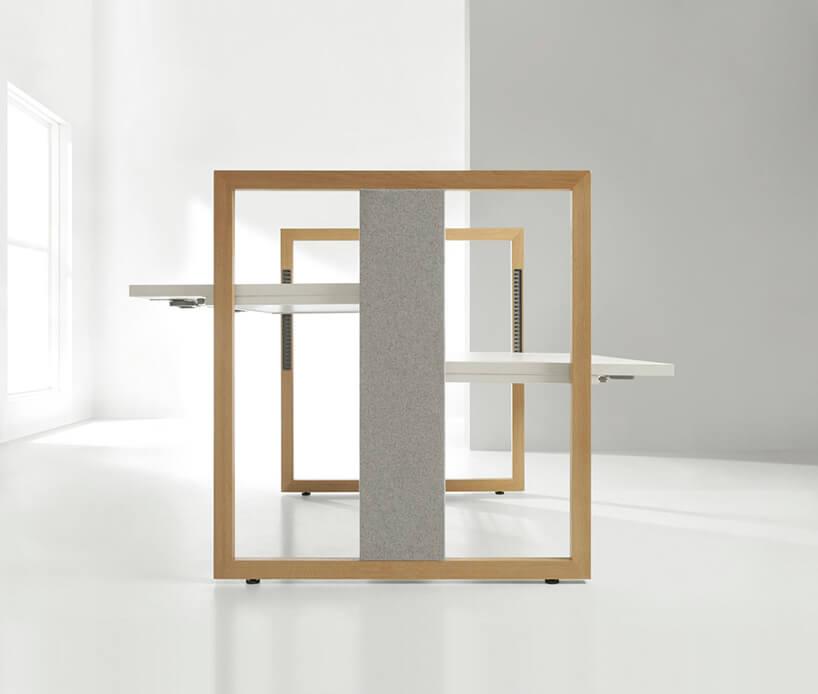 eleganckie podwójne nowoczesne biurko Stand Up Rod Mikomax zdrewnianą wysoką ramą