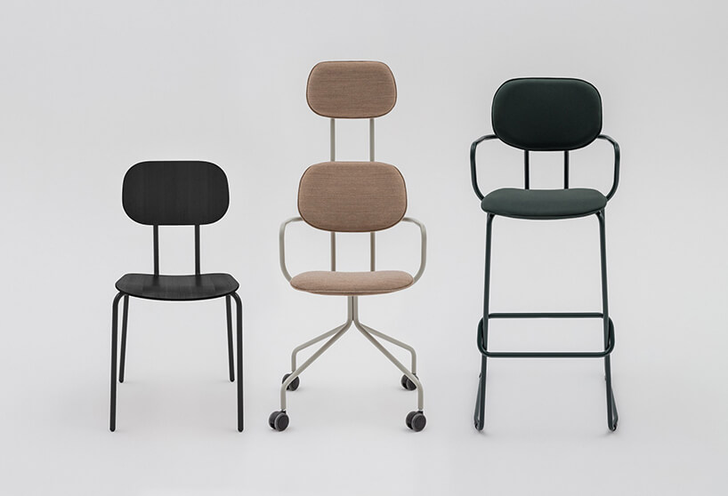 trzy różne krzesła zkolekcji New School od MDD