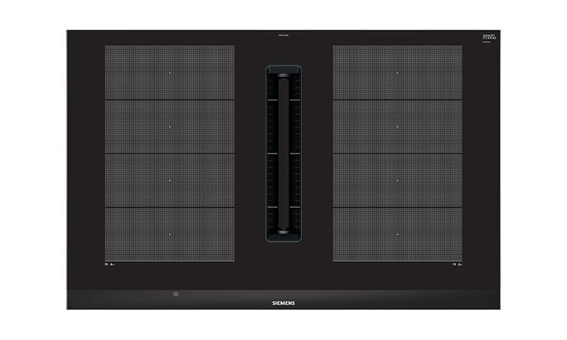 elegancka nowoczesna płyta grzewcza EX875LX67E od Siemens zgóry podczas pracy
