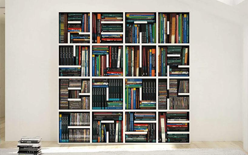 nowoczesny regał na książki wbiały kolorze pełen półek