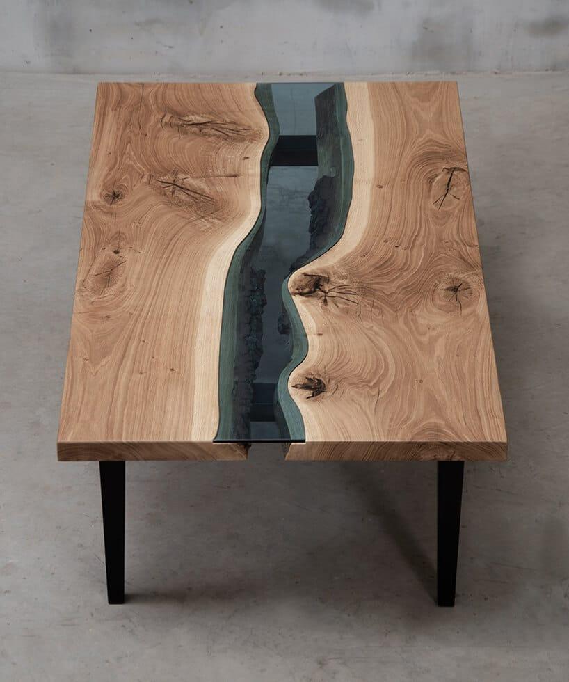 prostokątny stół zkawałkiem szkła wnieforemnej formie