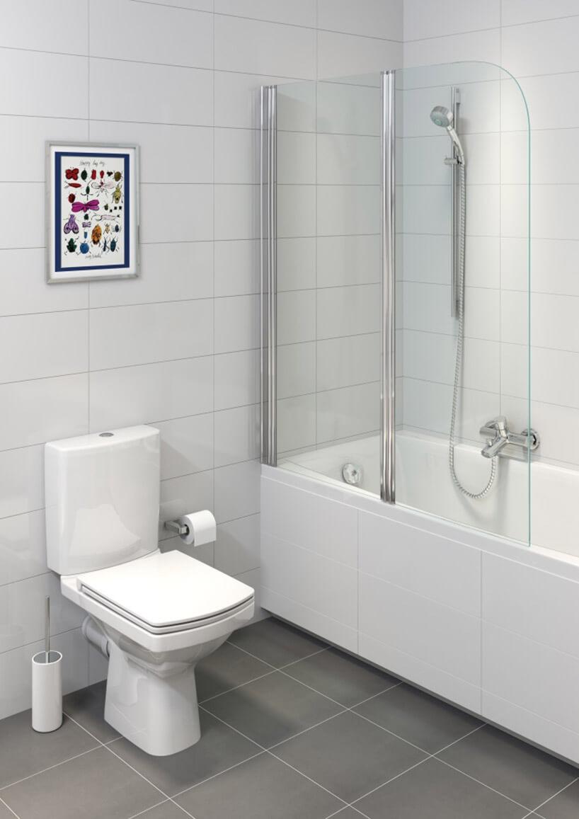 łazienka zszybą nad wanną dla natrysku
