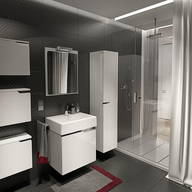 łazienka zfakturą na ścianie