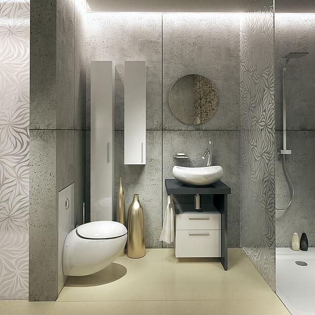 betonowe ściany znową umywalką