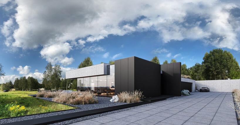 projekt domu od REFORM Architekt przeszklony front pod betonowym elementem