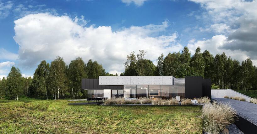 projekt domu od REFORM Architekt przeszkolony front pośród betonu iczarnej ściany