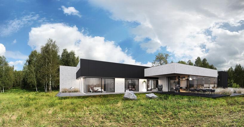 projekt domu od REFORM Architekt betonowy dom zprzeszklonymi ścianami na tle lasu