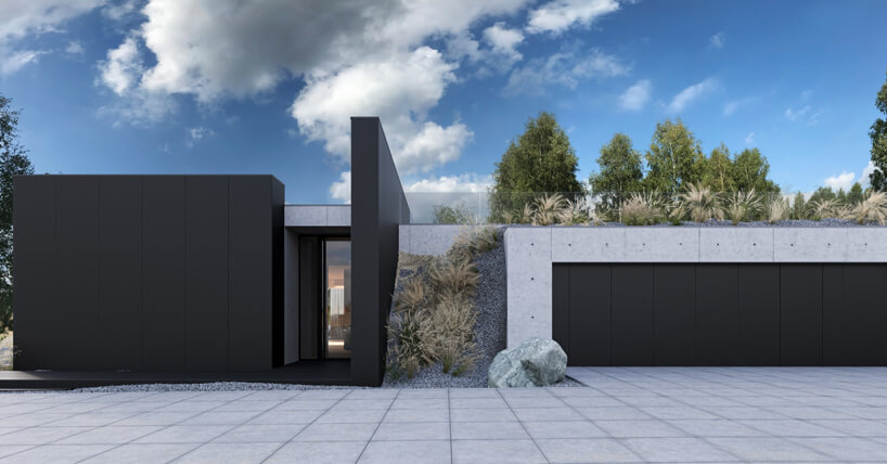 projekt domu od REFORM Architekt betonowy garaż zciemnymi drzwiami obok czarnego wejścia do domu