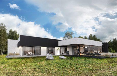 projekt domu od REFORM Architekt betonowy dom z przeszklonymi ścianami na tle lasu