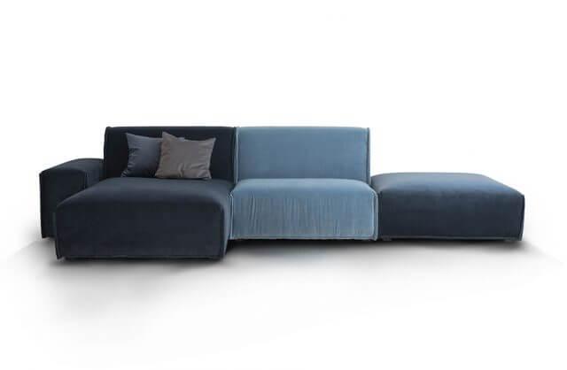 szaro-niebieski narożnik z trzech poduszek