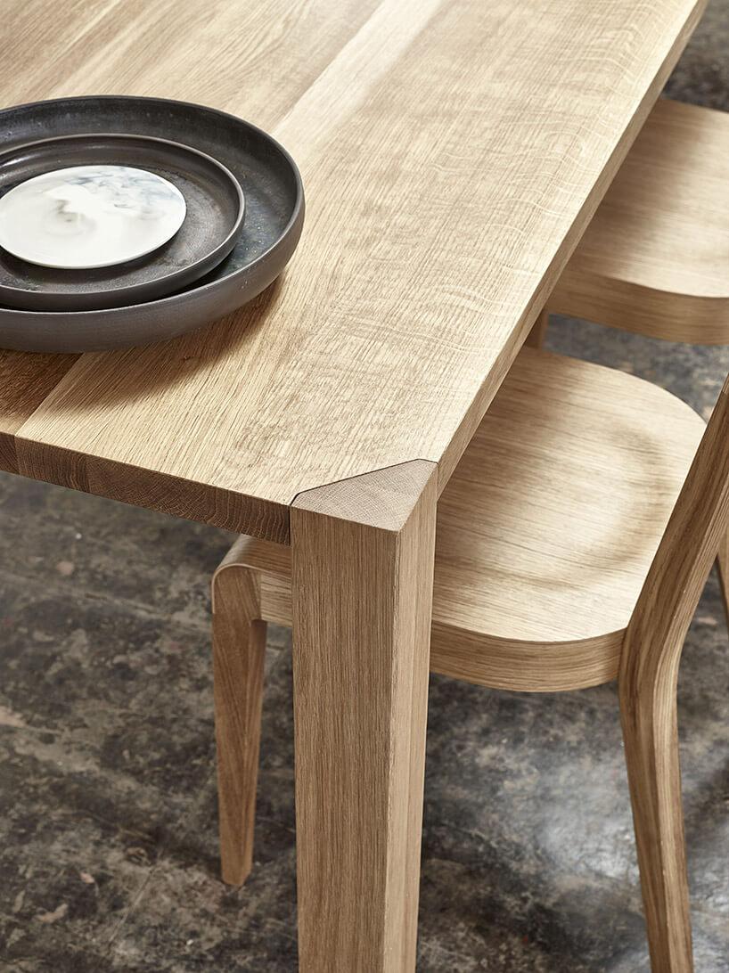 zbliżenie na łączenie nogi zblatem stołu