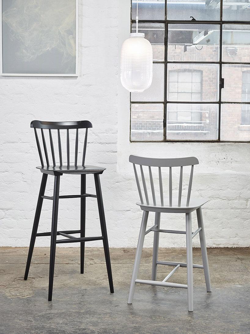 dwa krzesła barowe wbiałym pomieszczeniu