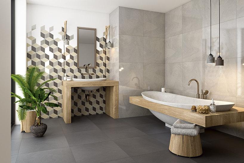 wizualizacja łazienki wbeżowych kolorach