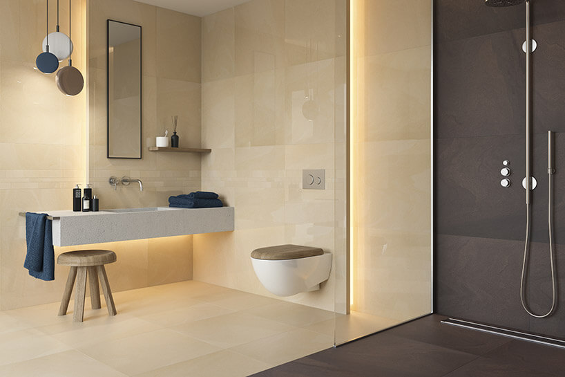 dwukolorowa łazienka na wizualizacji