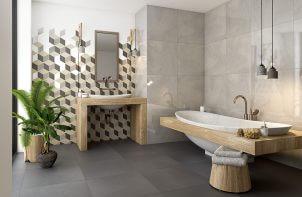 wizualizacja łazienki w beżowych kolorach