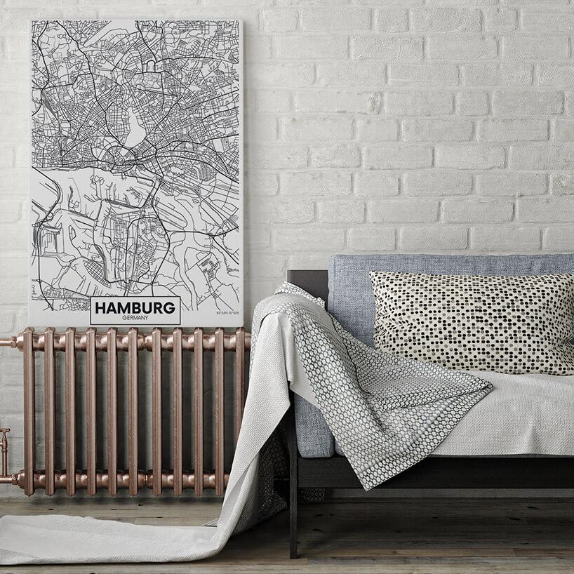 czarno-biały plan miasta na obrazie