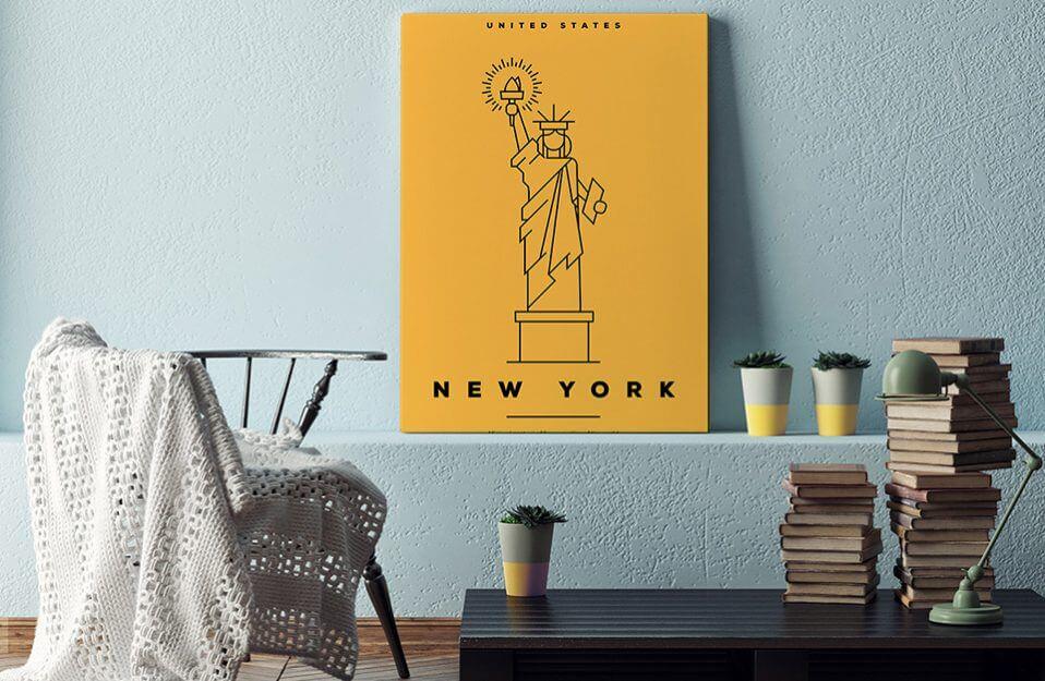 żółty plakat statuy wolności