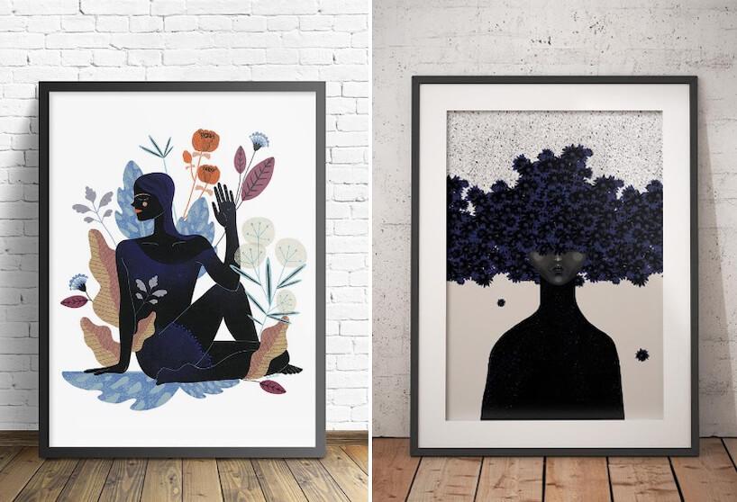 dwa plakaty projektu Anny Rudak wcienkiej czarnej ramce