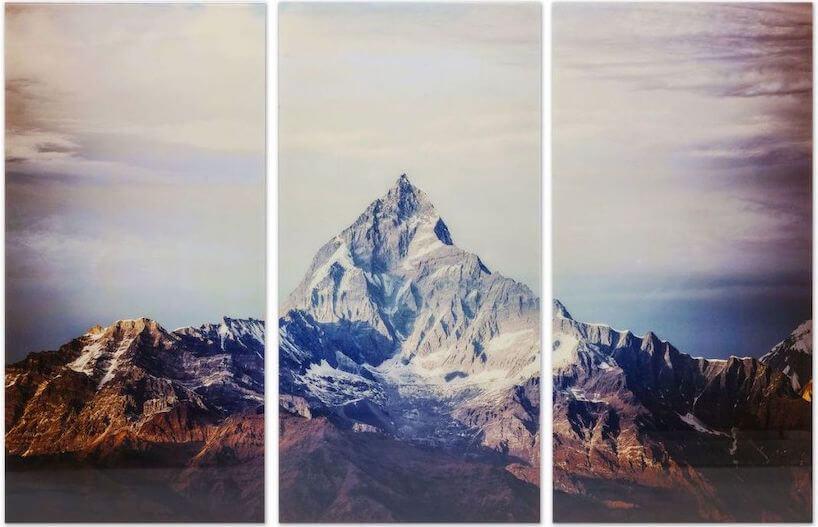 obraz tryptyk Triptychon Matterhorn od Kare Design widok zaśnieżonego szczytu górskiego