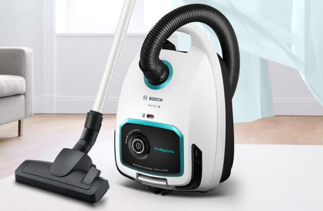 biało czarny nowoczesny odkurzacz Bosch