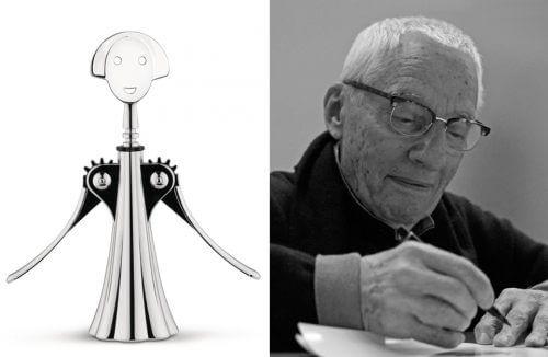 Alessandro Mendini obok korkociągu swojego projektu Anna G.