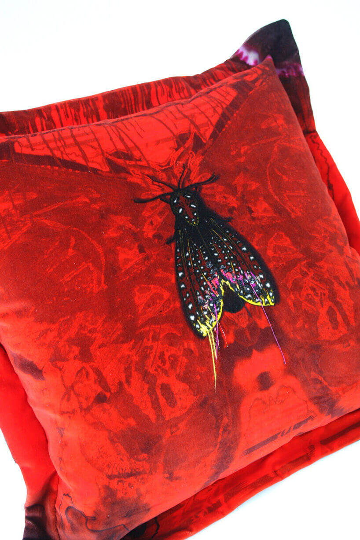 czerwona poduszka zdużym owadem