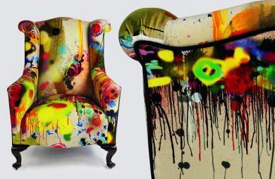 klasyczny fotel pomalowany sprayem