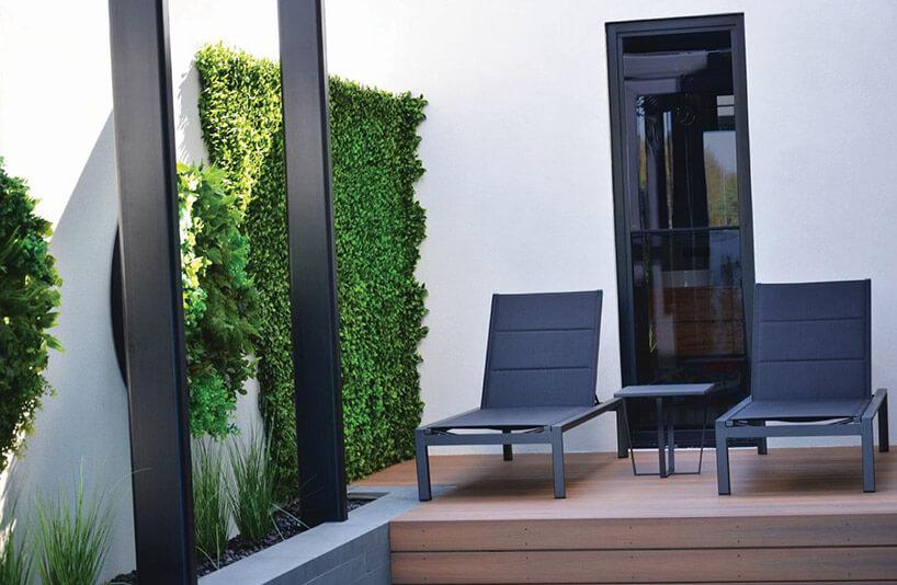 wertykalny ogród na ścianie patio