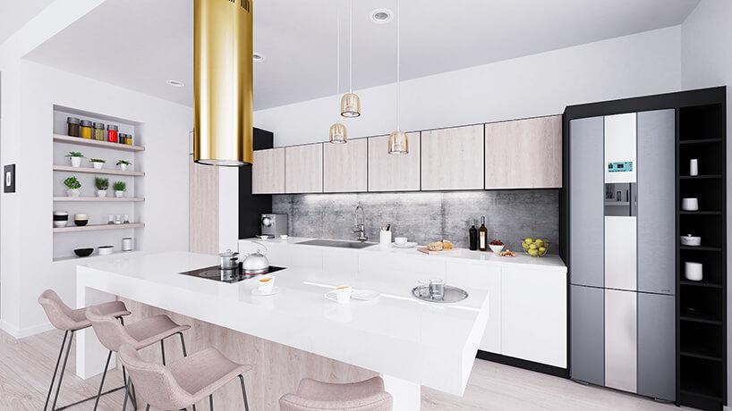 złoty okap kuchenny Cylindro od Globalo białej kuchni zdużym białym stołem