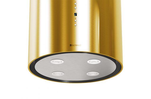 złoty okap kuchenny Cylindro od Globalo