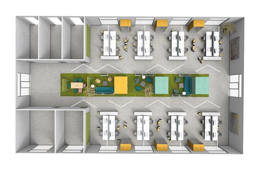 wizualizacja zagospodarowania wnętrza biurowego od góry