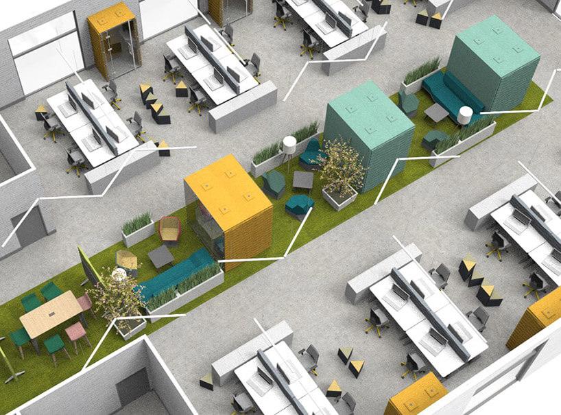 wizualizacja zagospodarowania wnętrza biurowego zbliska