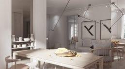 szary jasne wnętrze zciepłymi materiałami wkamienicy wnowoczesnym stylu