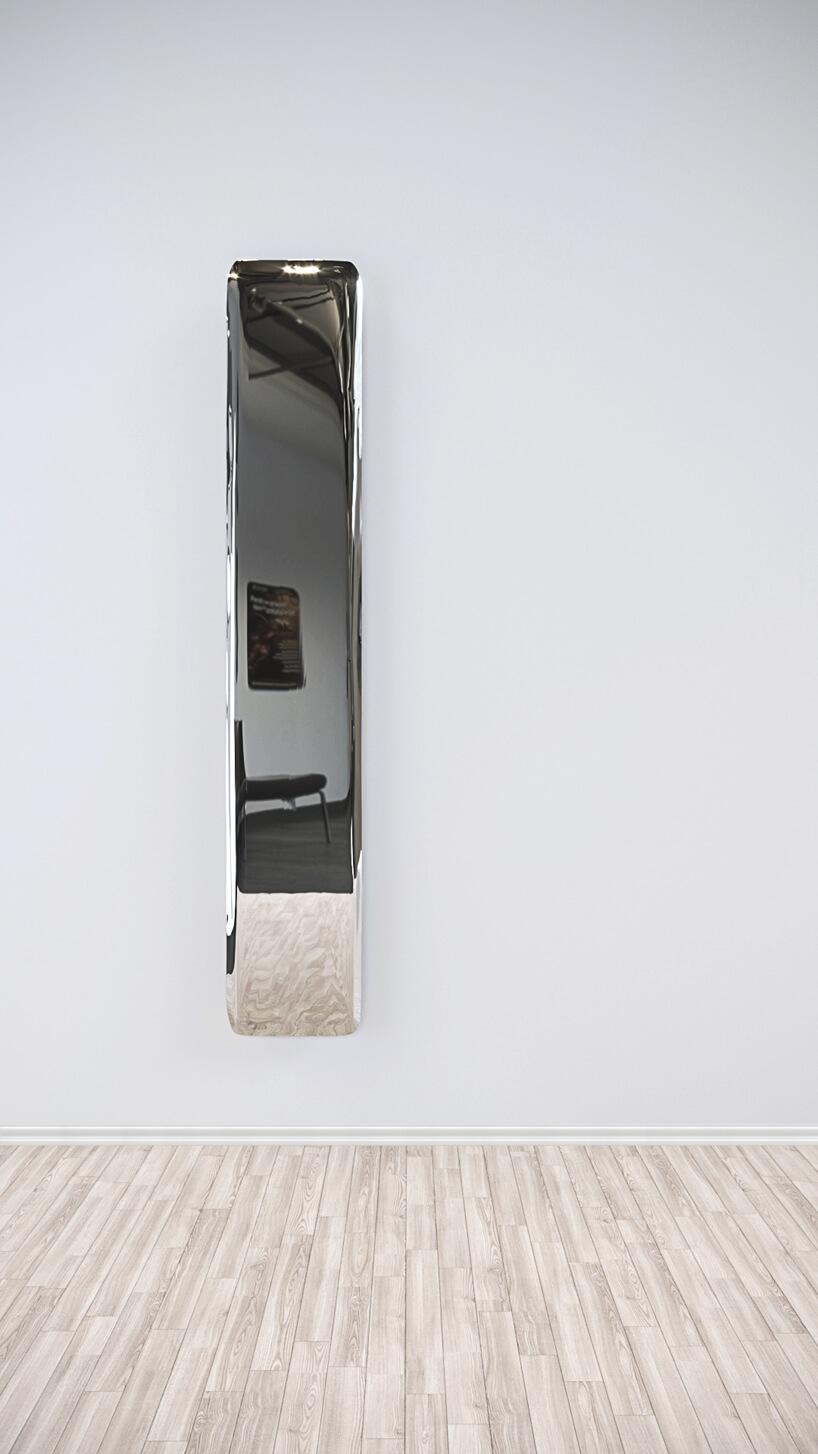 wyjątkowy chromowana dekoracja ścienna wkształcie szerokiego pionowego pasa