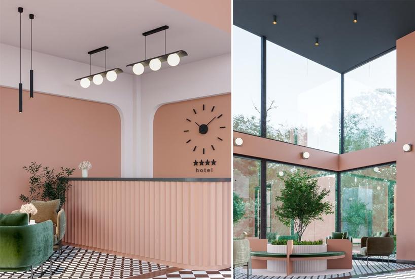 wyjątkowe oświetlenie Modern Ball na pomarańczowych ścianach we wnętrzu hotelu