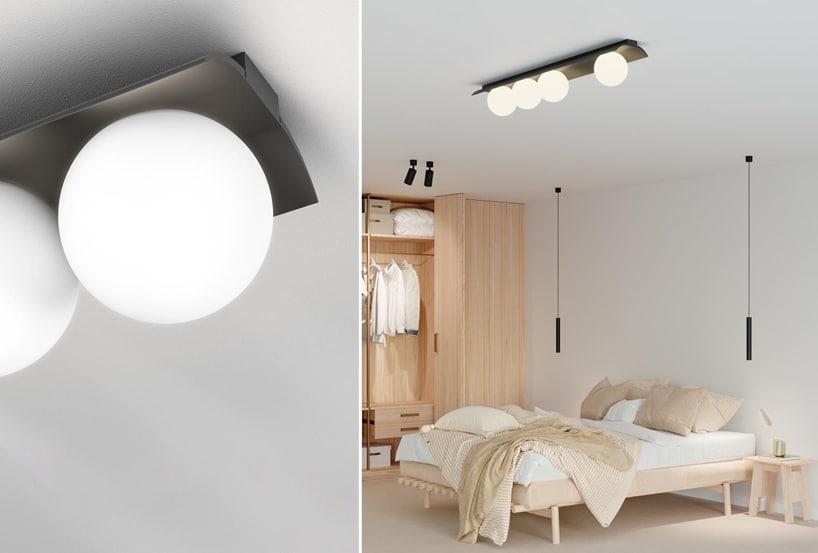 wyjątkowe oświetlenie Modern Ball na suficie jasnej przestronnej sypialni
