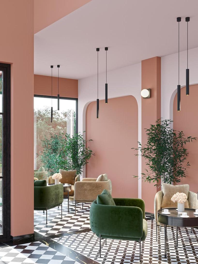 wyjątkowe oświetlenie Modern Ball wpoczekalni hotelu zpomarańczowymi ścianami