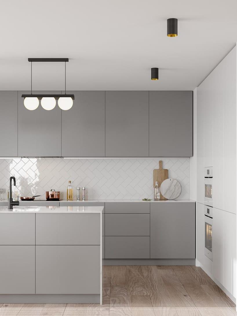 wyjątkowe oświetlenie Modern Ball pod sufitem wbiało szarej nowoczesnej kuchni