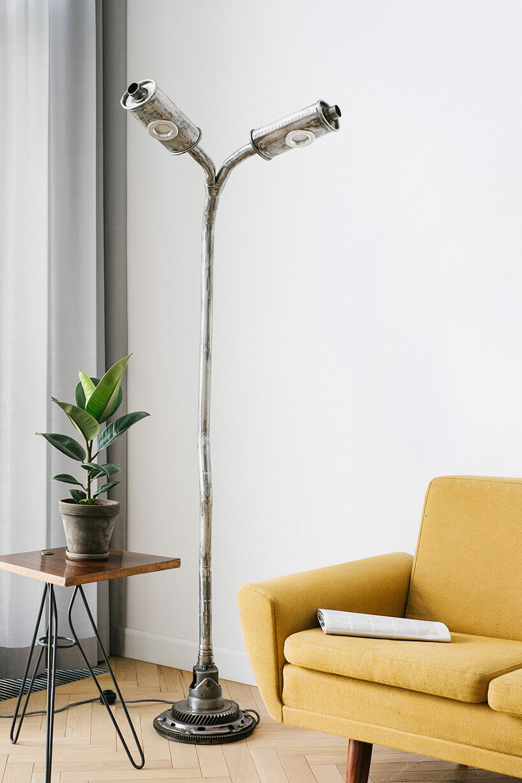 podwójna lampa podłogowa ztłumików