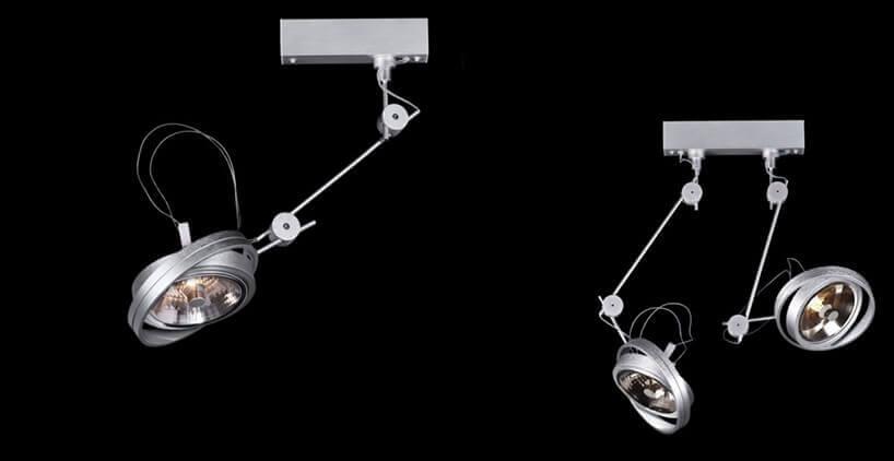 srebrne regulowane lampy
