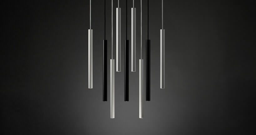 czarno-srebrny długi żyrandol