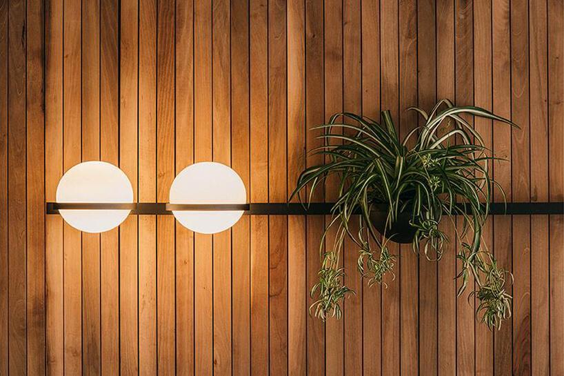ścienna lampa Palma, Vibia, Antoni Arola na tle drewnianej ściany