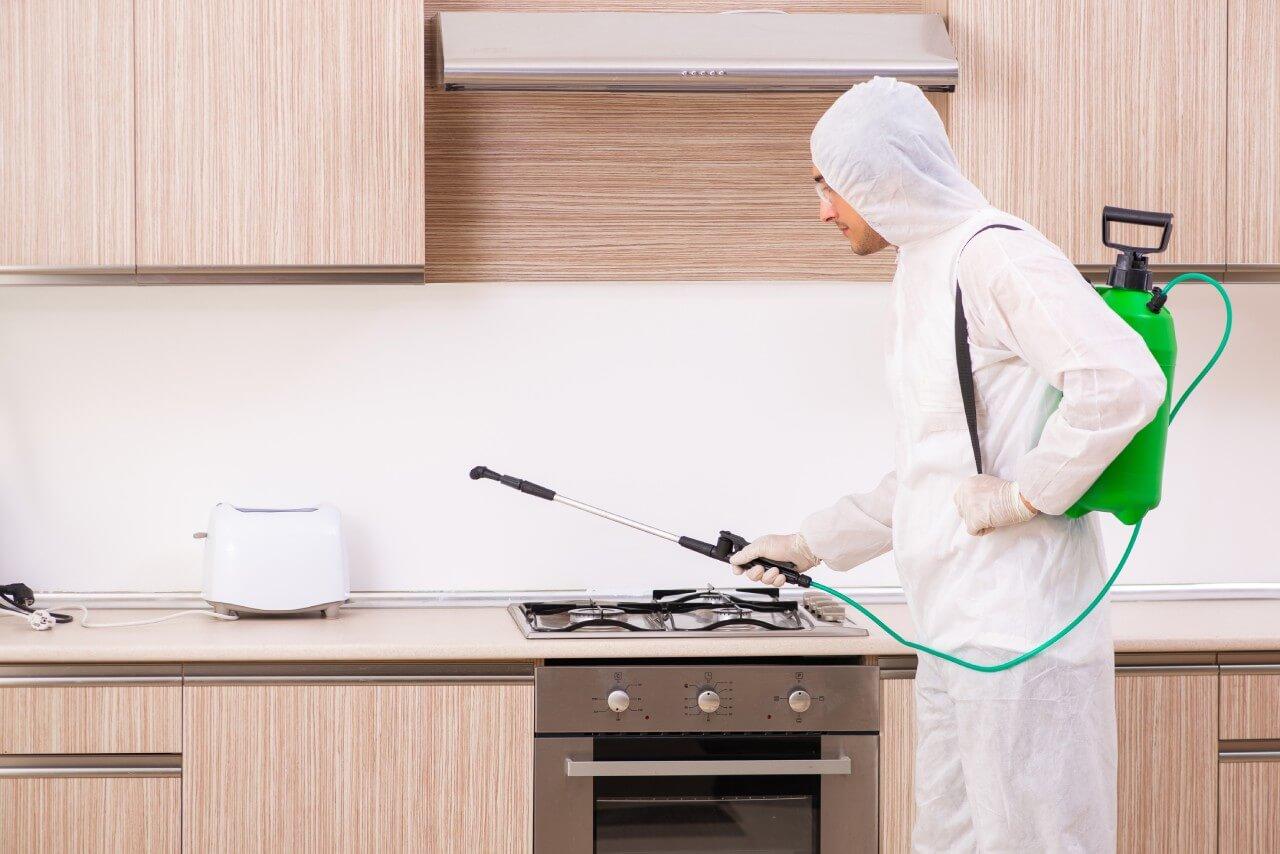 mężczyzna wskafandrze opryskuje idezynfekuje drewnianą kuchnię