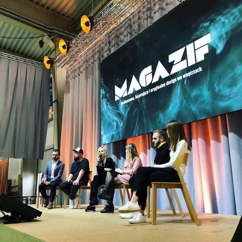 sześć osób na panelu MAGAZIF na Arena Design 2019
