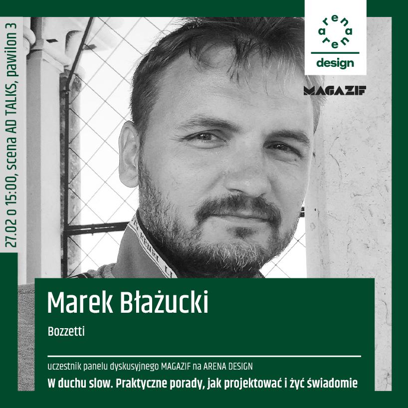 czarno białe zdjęcie Marka Błażuckiego uczestnika panelu MAGAZIF na arena design 2020