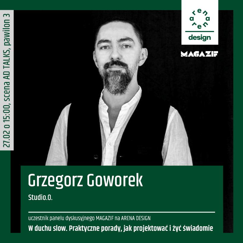 czarno białe zdjęcie Grzegorza Goworka uczestnika panelu MAGAZIF na arena design 2020