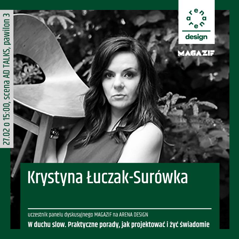 czarno białe zdjęcie Krystyny Łuczak-Surówki uczestnika panelu MAGAZIF na arena design 2020